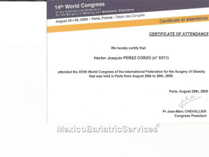 IFSO World Congress Certificate – Dr. Hector Perez